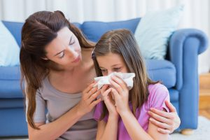Child struggling with environmental health problems